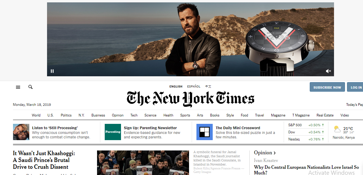 New York times web design