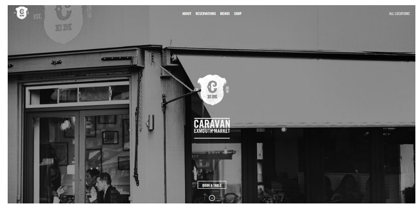 caravan restaurant website design
